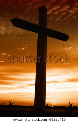 Holy cross at the sunset