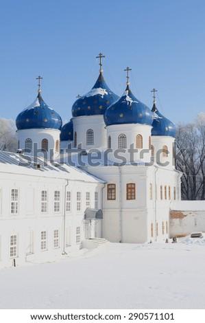 Holy cross Cathedral-St. George's monastery. Veliky Novgorod - stock photo