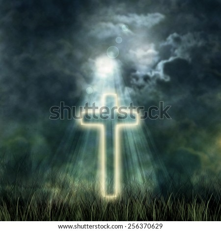 Holy Cross glowing, bright moon on a dark sky, the dark clouds - stock photo