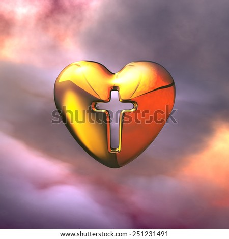 Holy Cross in the golden Heart in the clouds. Symbol of God and Faith - stock photo