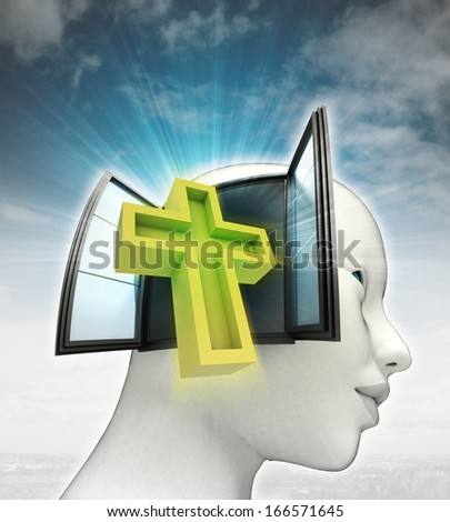 holy cross religion coming out or in human head with sky background illustration - stock photo