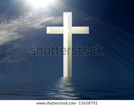 Holy Cross with suns rays and water reflection