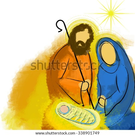 Holy family Christmas nativity abstract vector watercolor illustration Mary Joseph and Jesus - stock photo