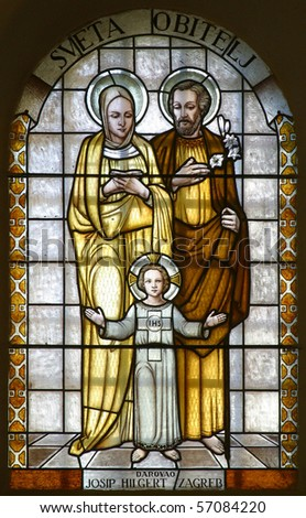 Holy Family, stained glass - stock photo