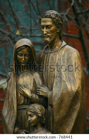 holy family, statue of jesus, mary and joseph bronze, Modern - stock photo