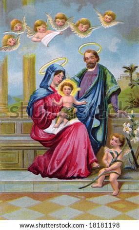 Holy Family - vintage Christmas illustration of Christ child - stock photo