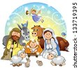 Holy Family with animals and background decorations - stock vector