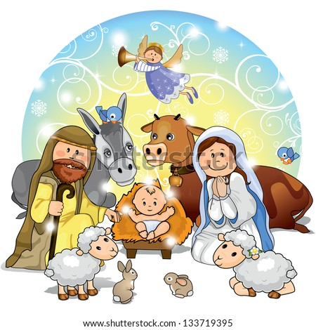 Holy Family with animals and background decorations - stock photo