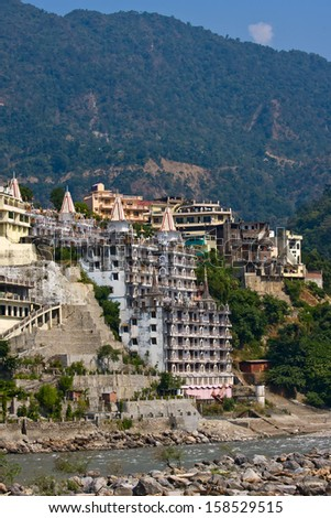 Holy Ganges river that flows through Rishikesh (the world capital of Yoga) - the holy city for the Hindus, India.
