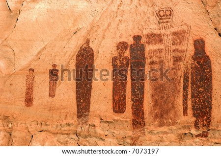 Holy Ghost pictograph panel in Horseshoe Canyon, Canyonlands National Park - stock photo