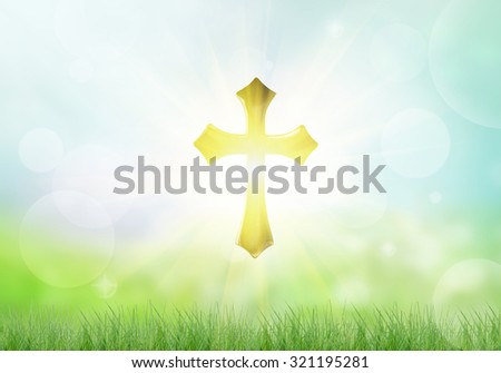 Holy Golden Cross and light on a bokeh background. - stock photo