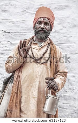 holy indian sadhu. - stock photo