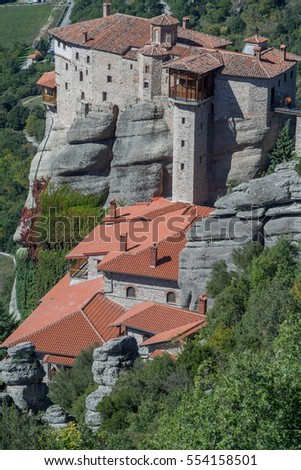 Holy Monastery of Rousanou on rock. Meteora, Thessaly, Greece.