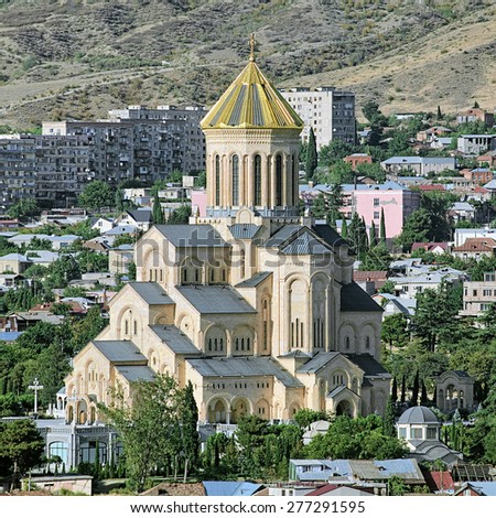 Holy Trinity Cathedral of Tbilisi (commonly known as Sameba), the main Cathedral of the Georgian Orthodox Church and the third-tallest Eastern Orthodox cathedral in the world, Georgia - stock photo