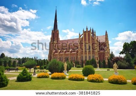 Holy Trinity catholic church, Gervyaty village, Grodno region, Belarus - stock photo