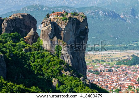 Holy Trinity Monastery (Agia Trias) at the complex of Meteora monasteries in Greece - stock photo