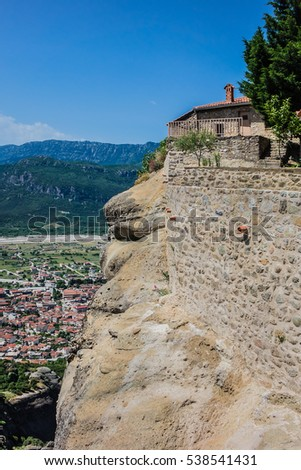 Holy Trinity Monastery (Agia Trias) - Eastern Orthodox monastery at the complex of Meteora monasteries. Peneas Valley, Greece. It is situated at the top of a rocky precipice over 400 meters high.