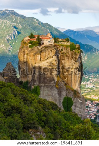 "Holy Trinity Monastery in Meteora rocks, meaning ""suspended into air"" in Trikala, Greece - stock photo"