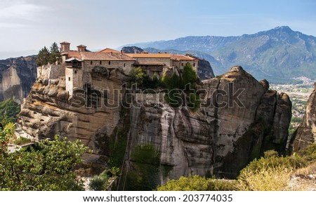Holy Trinity Monastery in Meteora rocks, meaning suspended into air in Trikala, Greece.  The Meteora is one of the largest and most important complexes of Eastern Orthodox monasteries in Greece