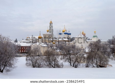 Holy Trinity-Sergius Lavra in winter. Sergiev Posad, Moscow region, Russia. UNESCO World Heritage Site - stock photo
