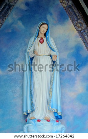 Holy virgin Mary in a blue chapel