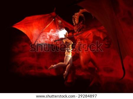 holy warrior vs demon - stock photo