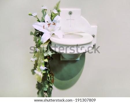 Holy water stoup aspersorium basin vessel bowl  - stock photo