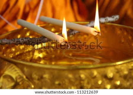 holy water, the monks and religious rituals in thai ceremony - stock photo