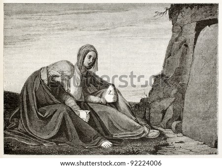 Holy women in front of Jesus sepulcher. Created by Vent, published on Magasin Pittoresque, Paris, 1845 - stock photo