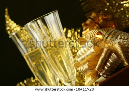 holyday card golden champagne and gift