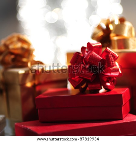 holyday gifts macro close up - stock photo