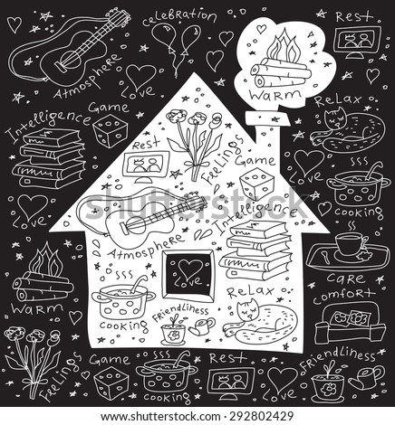 Home and family symbol icons Icons and signs about happy family domestic life. Doodles black and white illustration. - stock photo