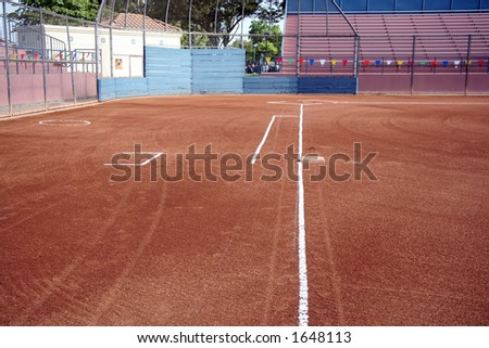 Home and first base on sport's field - stock photo