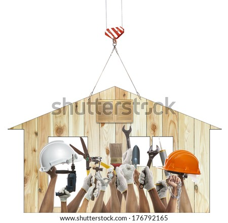 home and hand rising diy tool equipment against wood house use for home craft man repair and maintenance working - stock photo