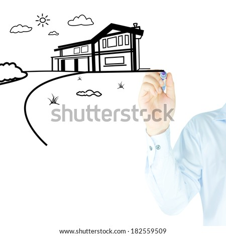home and house drawn by human hand  - stock photo