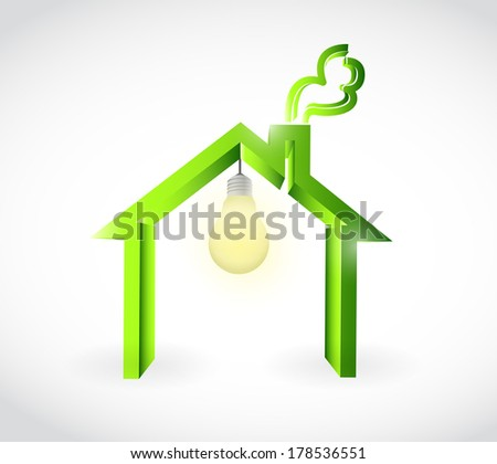 home and light bulb illustration design over a white background - stock photo