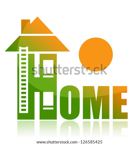 Home and rising sun - stock photo