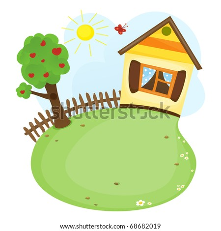 Home and tree (raster version) - stock photo