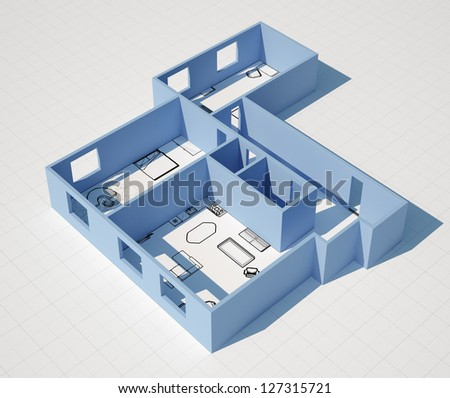 Home apartment construction plan with 3D walls shown from above - stock photo
