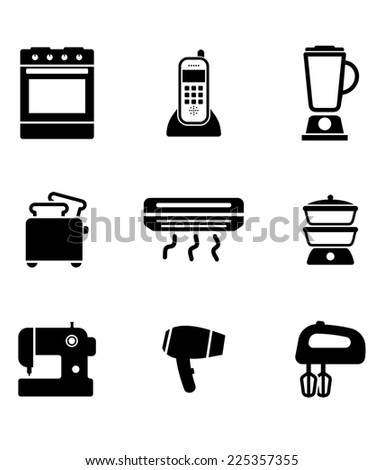 Home appliance icons set with on oven, telephone, liquidizer, toaster, heater, steamer, sewing machine, hairdryer and egg beater, black and white silhouettes - stock photo
