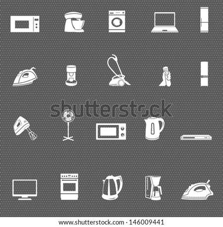 home appliances and electronics web icons set on dark background. raster version, vector file also available in gallery - stock photo
