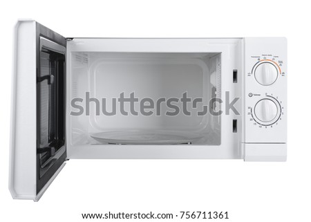 Home appliances. New white microwave oven isolated on white background