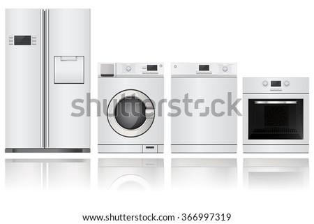 Home appliances. Set of household kitchen technics: electric Oven, Dishwasher, refrigerator, washing machine. Raster version. Illustration isolated on white background. - stock photo