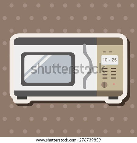 Home appliances theme microwave , cartoon sticker icon