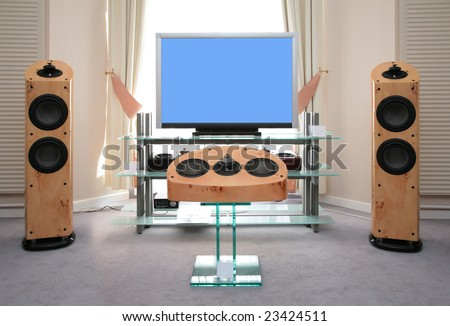 Home audio and video equipment - stock photo