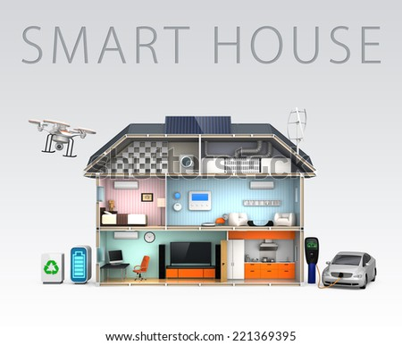 Home automation concept. Add new improved insulation details. (With text) - stock photo