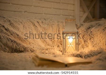 Home background with vintage lamp