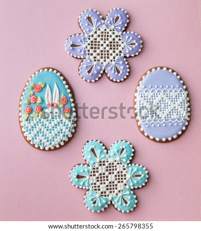 Home-baked and decorated Easter cookies. - stock photo