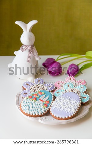 Home-baked and decorated Easter cookies. selective focus - stock photo