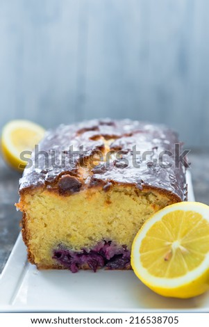 Home baked lemon cake with blueberries